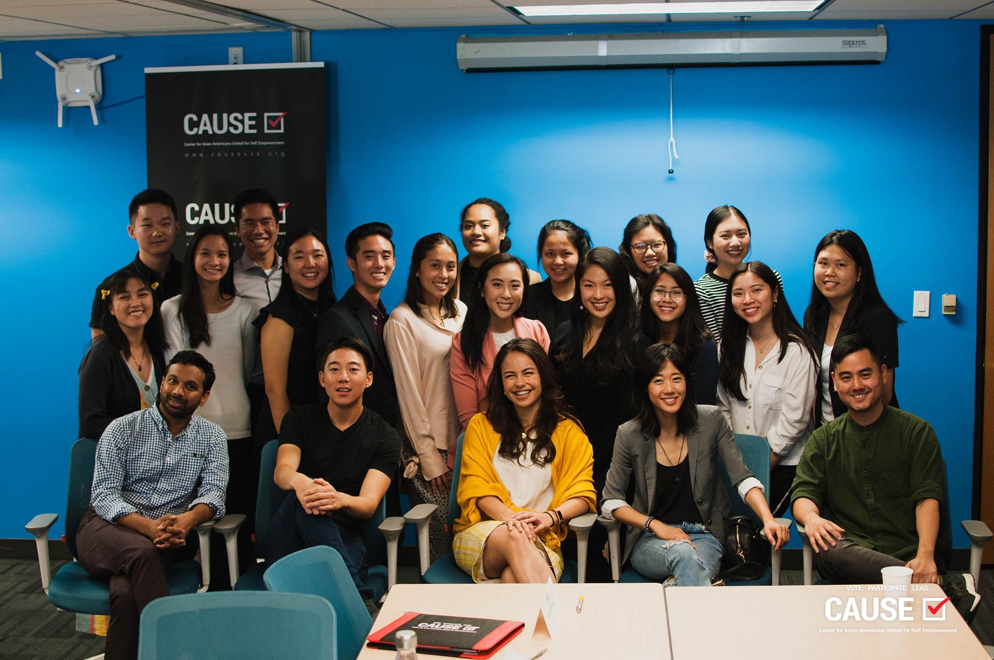 2019 CAUSE Leadership Academy media representation panel with Snehal Desai, Dan Matthews, Emi Kamemoto, Julie Zhan, and Sean Miura