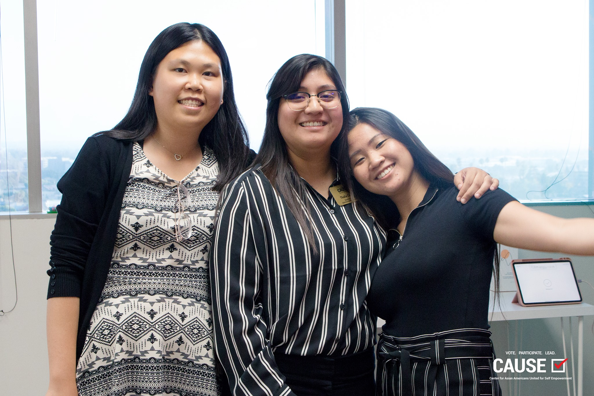 Yanqing Lei, Thalia Campos, and Kristie Lam at the 2019 CAUSE Summer Alumni Mixer