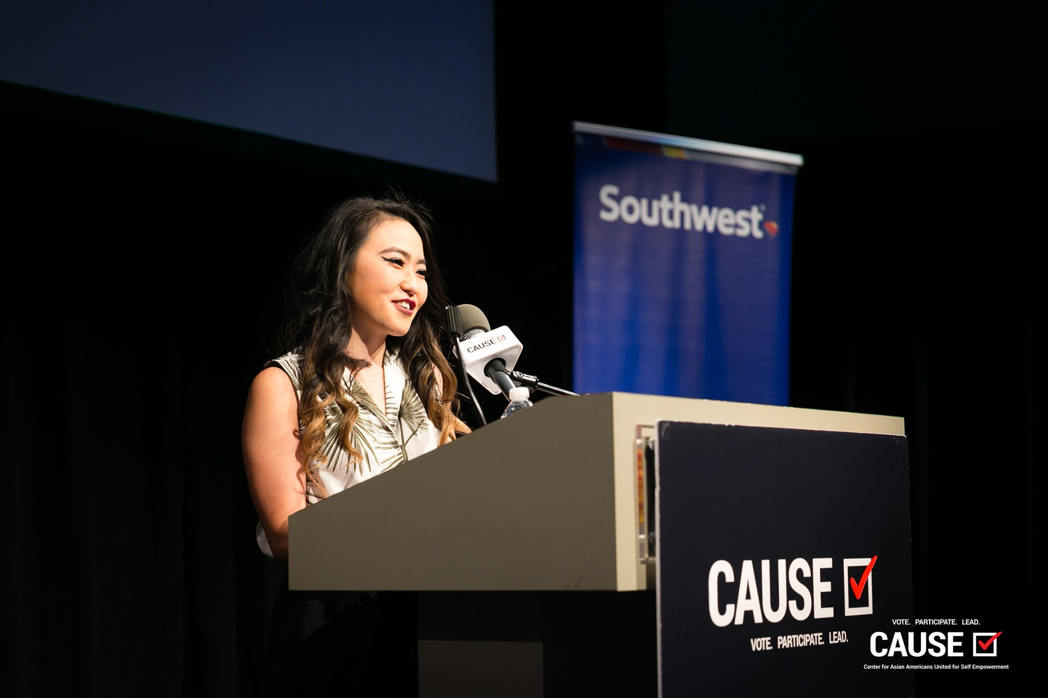 Kim Yamasaki speaking at the 2019 CAUSE Leadership Academy Graduation