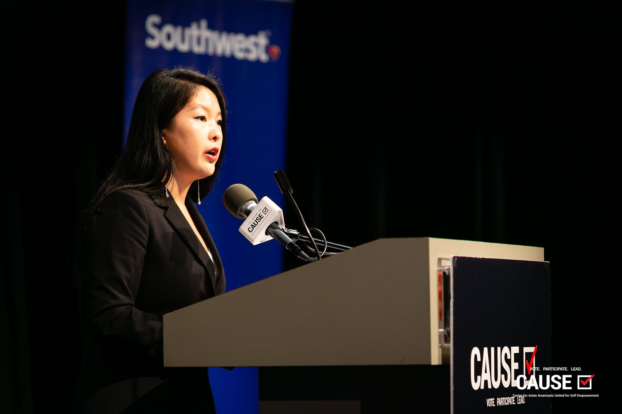 Angela Wang speaking at the 2019 CAUSE Leadership Academy Graduation