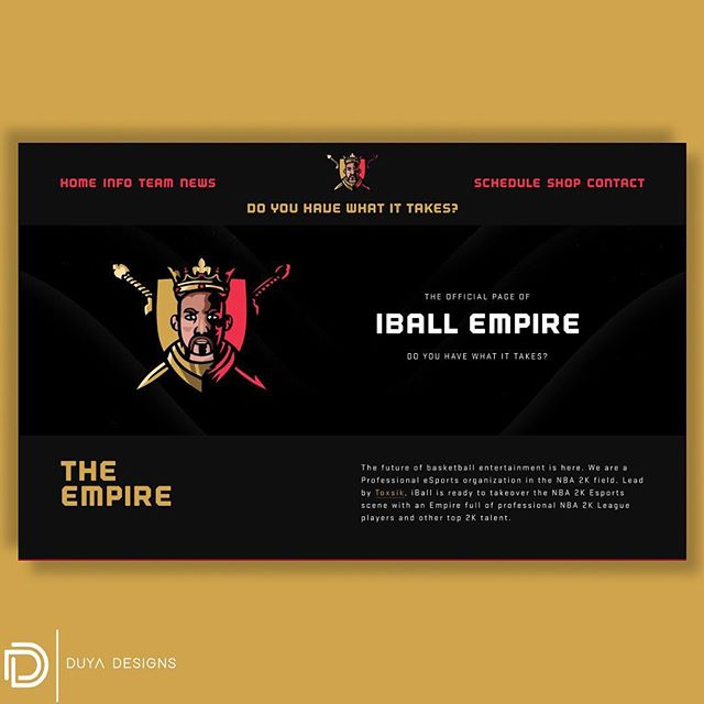 Most recent project! Website designed for @iball_empire / @b_raudenbush. The Empire now has an official home where their fans can stay up to date with everything going on 🏀🎮