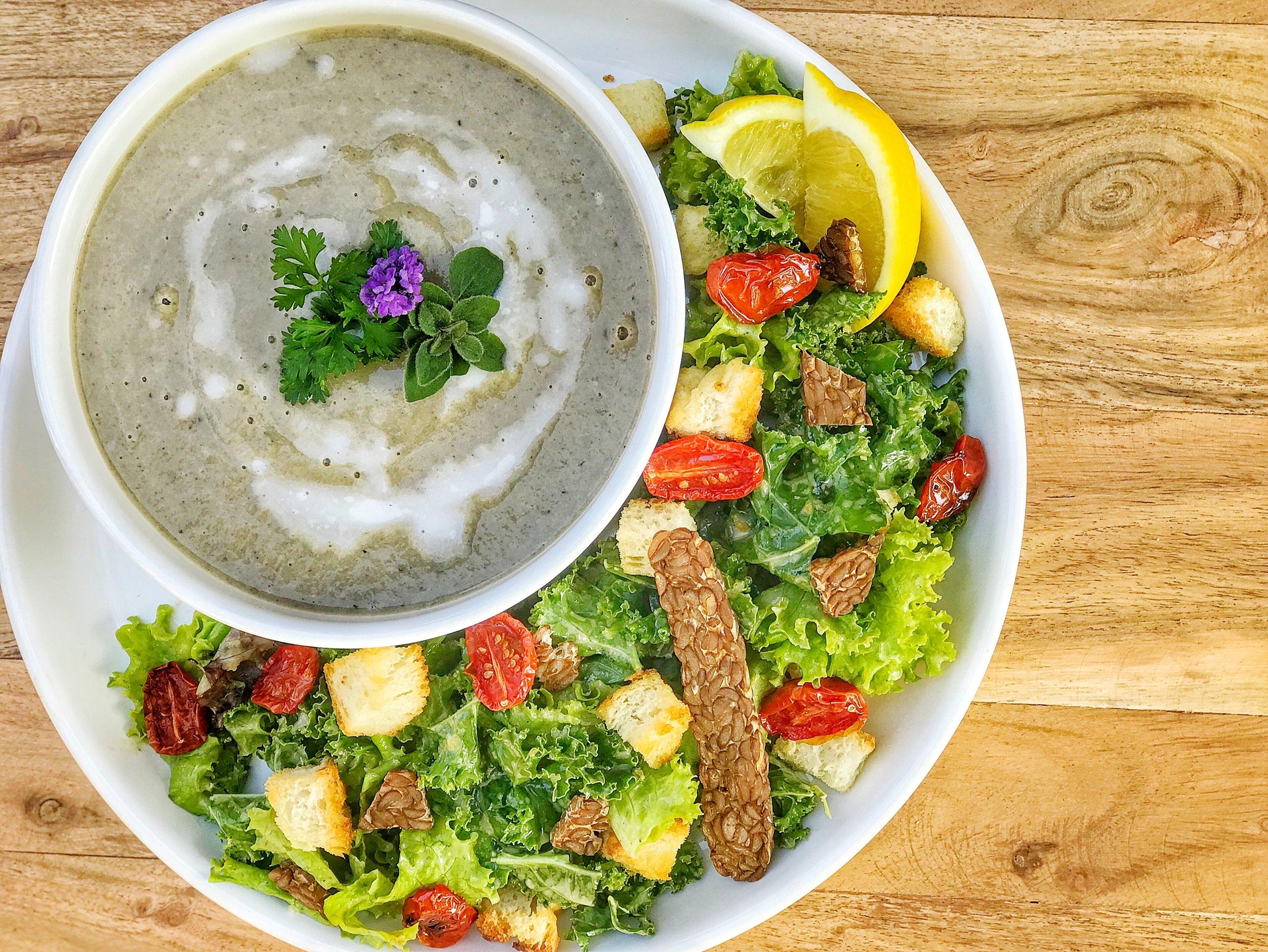 Mushroom Bisque w/ Kale Caesar