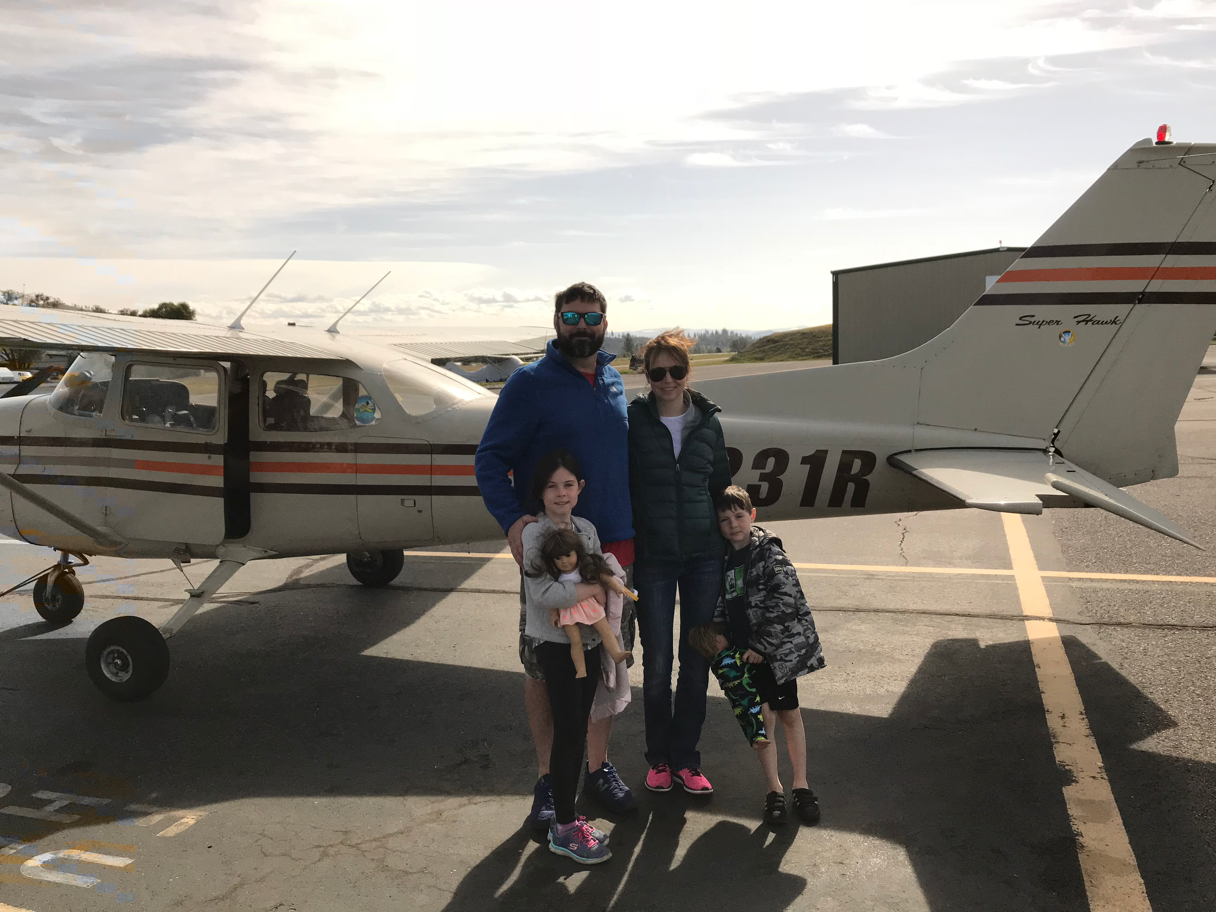 Scott Rexwinkle takes his family for their first ride after earning his private pilot certificate