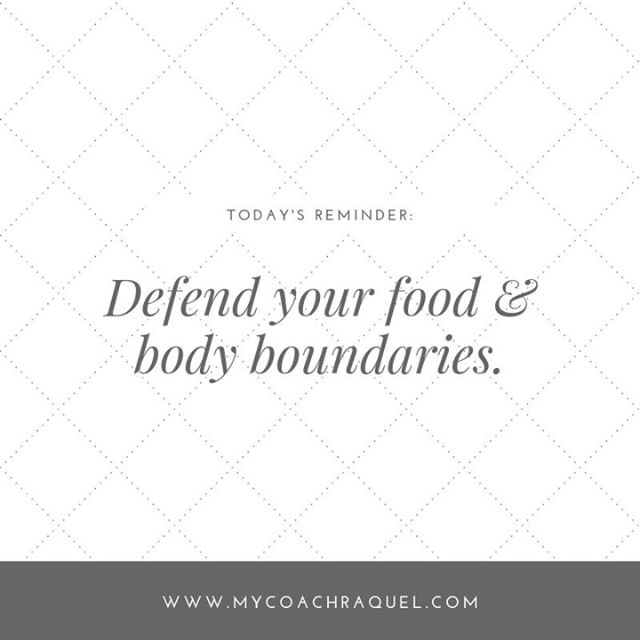 It is so important to have boundaries around food and our bodies - especially when trying to get away from the diet mentality.⠀ ⠀⠀⠀⠀⠀⠀⠀⠀⠀ Don't be afraid to tell people to:⠀ ⠀⠀⠀⠀⠀⠀⠀⠀⠀ ✨Not comment on your body or weight⠀ ✨Not comment on what you are eating⠀ ✨Not make you feel obligated to eat or not eat⠀ ⠀⠀⠀⠀⠀⠀⠀⠀⠀ ⠀⠀⠀⠀⠀⠀⠀⠀⠀ ⠀⠀⠀⠀⠀⠀⠀⠀⠀ ⠀⠀⠀⠀⠀⠀⠀⠀⠀ ⠀⠀⠀⠀⠀⠀⠀⠀⠀ #ditchdiets #selflove #bodyimage #selflovecoach #dietculture #mindfuleating #intuitiveeating #nutritionist #healthcoach #eatingdisorderrecovery #edrecovery #recovery #bodylove #selfcare #loveyourbody #mindset #bodypositivity #bopo #bodypositive #mentalhealth #mindfulness #health #wellness #balance #compassion #oakville #oakvilleliving #oakvillelife #oakvillebubble #downtownoakville