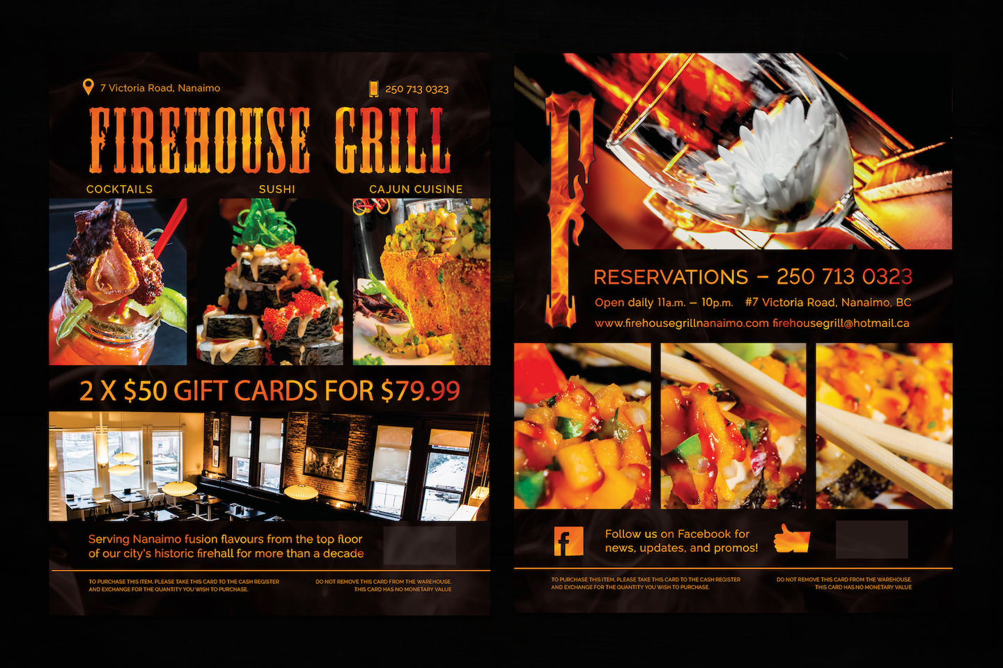 Gift Cards - This is displayed in Costco so customers can buy great deals on food at the Firehouse Grill. This was a fun project, and was a great learning experience in the intricacies of food photography.
