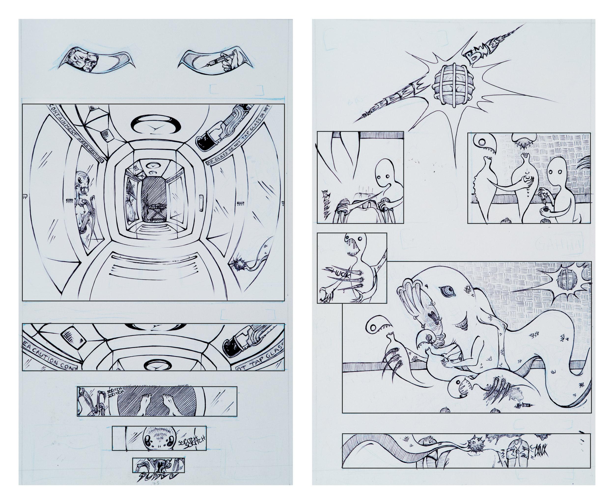 ballpoint pen concept panels for a sci-fi horror comic