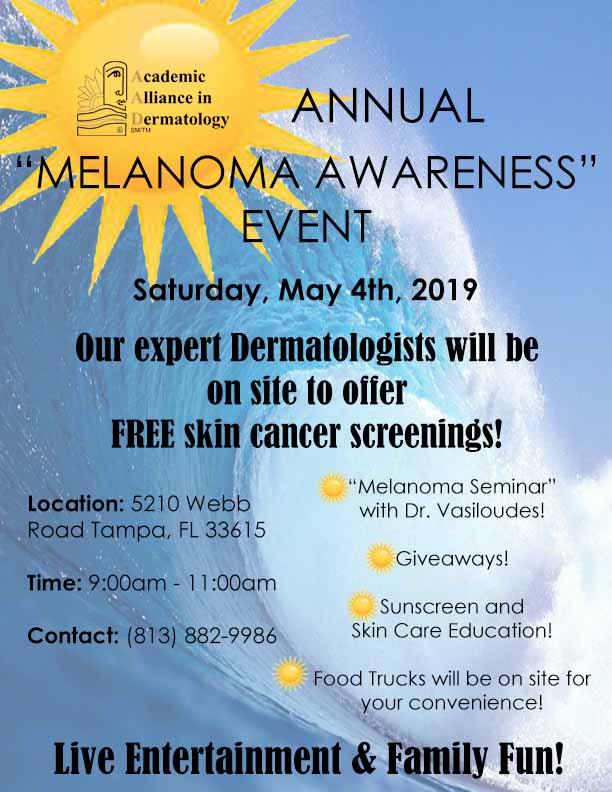 melanoma, malignant melanoma, melanoma awareness, melanoma awareness event, Dr. Panos Vasiloudes, tampa dermatology, tampa dermatologist, dermatologist in tampa, academic alliance, academic alliance in dermatology