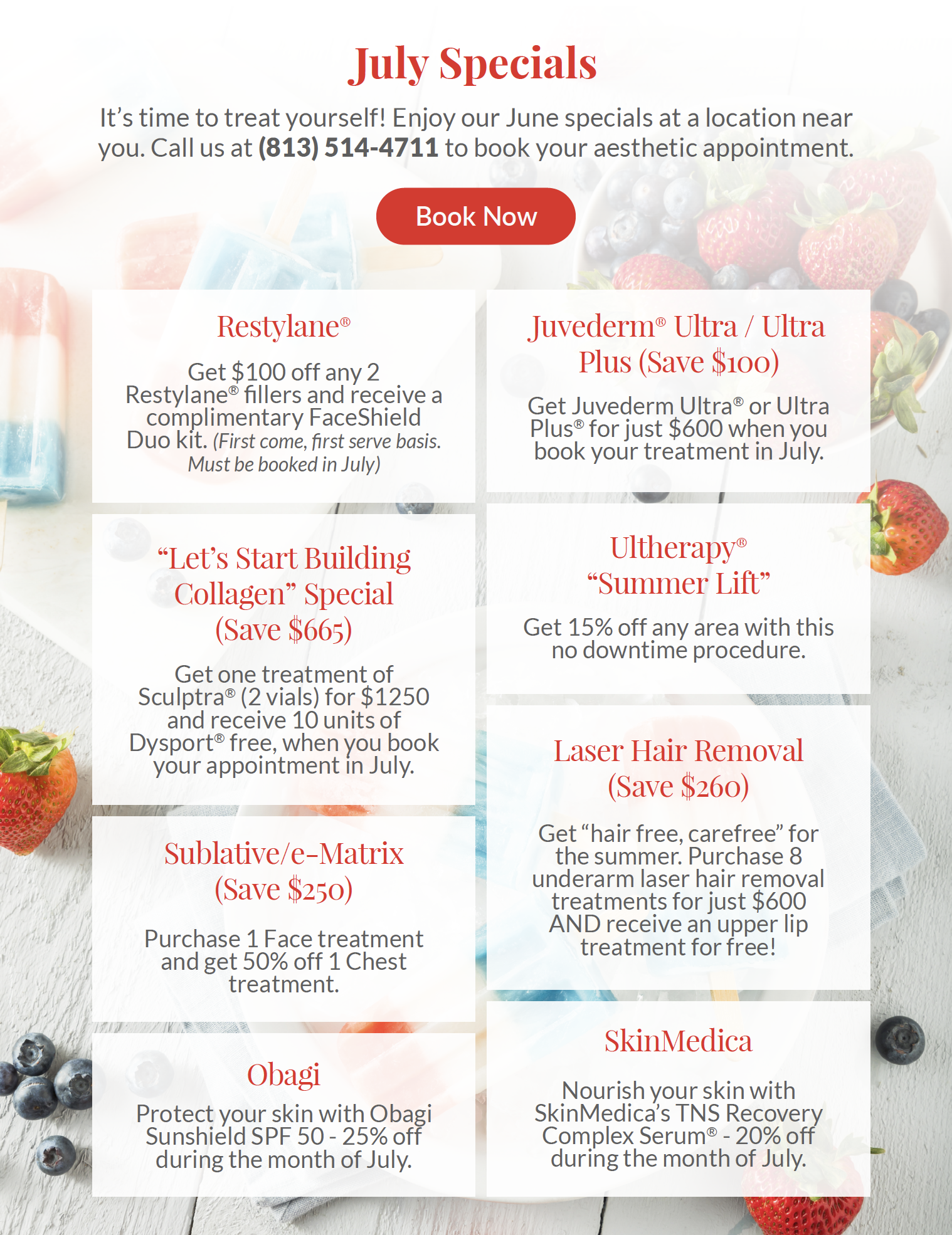 July specials, discount botox, academic alliance in dermatology, tampa dermatology, tampa dermatologist, dermatologist in tampa
