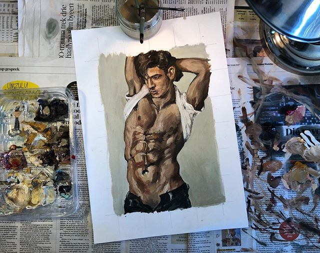 """I made another """"Send nudes!"""" painting! Oil on paper. 200 x 300 mm. Details on site. • #originalart #originalpainting #portrait #model #portraitart #fitness #nudemale #portraitpainting #portraitartist #oilpainting #muscle #muscleart #fineart #contemporaryart #abs #painting #nudestudy #malemodel #contemporaryexpressionism #expressionism #southafricanart #southafricanartist #expressionistart #youngandupcomingartist #naturalcolours #gayart #earthy"""