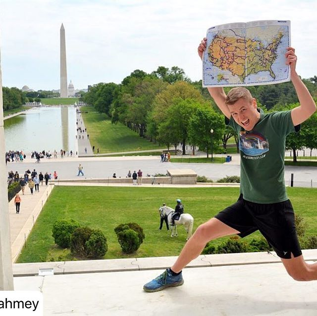 """Sending our admiration for Mikah who followed his dreams and spent 3 years visiting 419 National Park sites. Read his story below, dreams come true if you believe in you, YOU!  Mikah we love your yoga map pose! #rockthehudson #worldpride #newyork #yoga #wellness  #repost @mikahmey ・・・ Though I initially chose the Lincoln Memorial as my Final Site 419 so I could look back at the Washington Monument knowing it had taken me going to every corner of the country to reach that short distance, I didn't realize how many other special meanings this Finale location would come to take.  That I'd be standing under the gaze of a President who's name inspired that of my hometown, and whose legacy of civil rights would come so perfectly to fit this journey whose mission grew to advocating for LGBTQ people.  And that my past in Lincoln, Nebraska as the son of a Lutheran minister would play such a large role in this journey. Since the main reason I lasted beyond my savings and stayed on the road for three years was primarily due to money raised by singing, speaking, and—yes even though I swore I'd never be like my dad and be a pastor—preaching at over 100 churches across America. Sharing my story growing up in Lincoln as a closeted gay man of faith who never had an example that I could be both, and who wanted to use this journey to provide others the role model I always wanted.  And finally, that an impossible journey begun out of a desire to share with people the need to live for today; to appreciate time while we have it; to spend time with loved ones while we have them; and mostly, to follow your DREAMS! That that journey born out of the death of a father who devoted his life to ministry provided by Martin Luther, would end in the spot where a man sharing Martin Luther's name gave a speech known by so many as """"I Have a Dream."""" That this place would provide the completion of an impossible dream that became possible."""