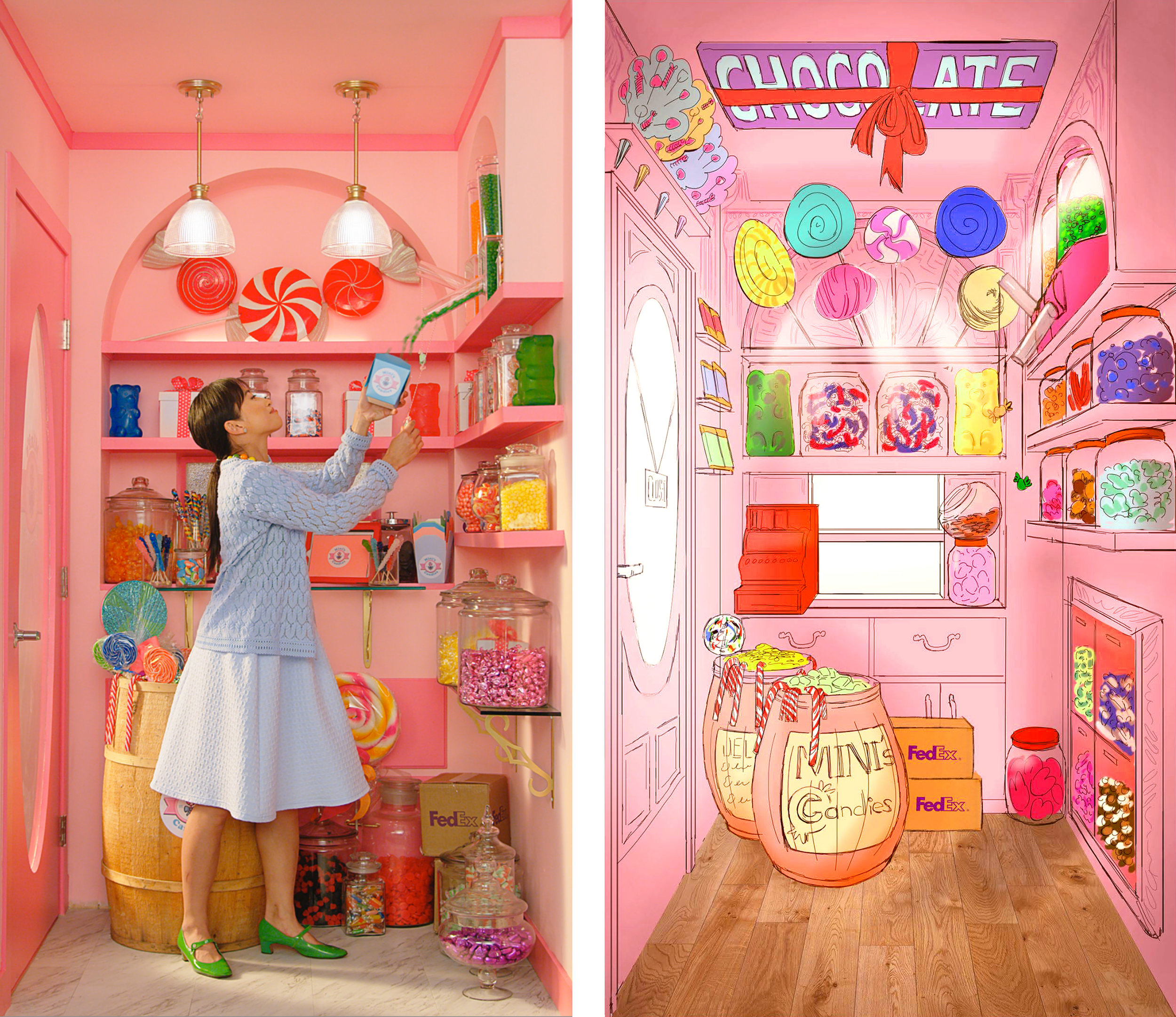 Production illustration by  Thomas Teraoka . Production designer is the fabulous  Michael Fitzgerald . The candy store owner is  Wen Rock .