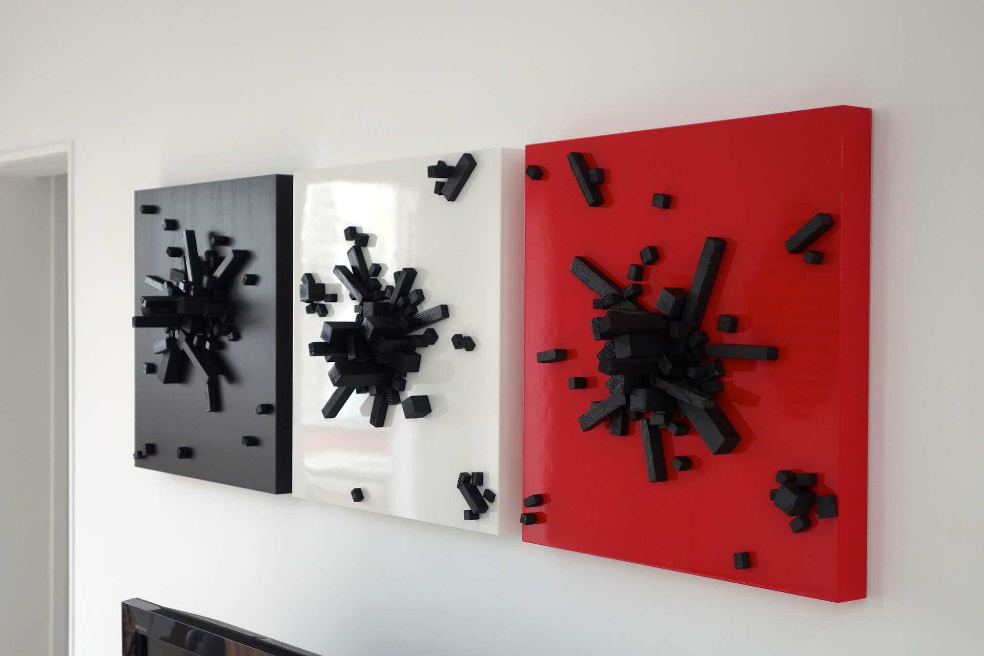 Black on Red, White, Black