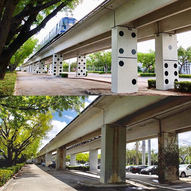 "Due to overwhelming positive public response and demand, the Award winning Public Artwork ""Miami Dominoes"" continues... You too can be part of this ambitious and exciting public artwork that has touched the soul of Miami. Click on the link to see how you can receive a limited edition artwork of the ""Miami Dominoes"". http://kck.st/2AcRGpi  This is what Daiana Rocha (Emmy Award winning journalist) had to say about the art work: ""Miami Domino will soon turn into an iconic symbol of Miami. The kind of art that will be used as a landmark to reference our city all around the world. It represents Miami in so many implicit ways that is impossible to go unnoticed."" Luis Hernandez WLRN's Sundial: ""Miami Dominoes has touched the soul of Miami""  My South Florida Today. ""This is why local public art is so important. We all love dominoes. Thank you for this lovely installation""  John Edward Smith Publisher of South Miami Magazine ""Miami Dominos gives life to a barren urban landscape seen for over 35 years and foreshadows the creative possibilities coming with The Underline. It is truly an exhilarating and refreshing public art installation."" The photo above is the ""before & after "" Miami Dominoes first stage.  www.bodroga.com #sculptures #artcurator #interiordesign #artgallery #artist #artwork #abstractart #abstract #abstraction #contemporaryart #geography #dailyart #artistsoninstagram #artist_features #avant.arte #australianartist #sydneyartist #olsengruingallery #olsengallery #artcentersf #theellies #miamiart #miaminailartist #coralgablesmagazine #coralgablestv #onlyindade"