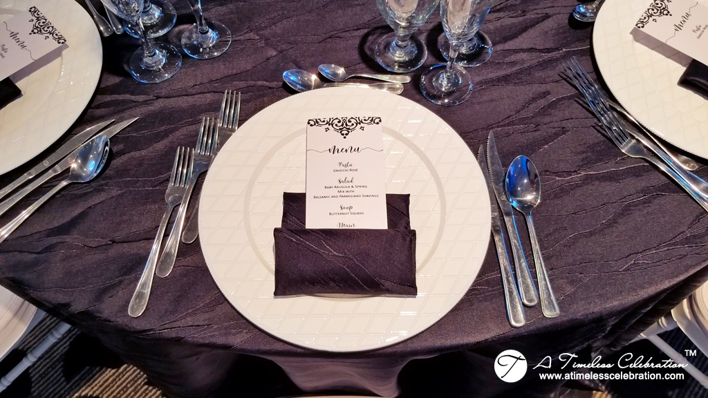 Wedding Menu Black White Damask Montreal Wedding at Le Madison