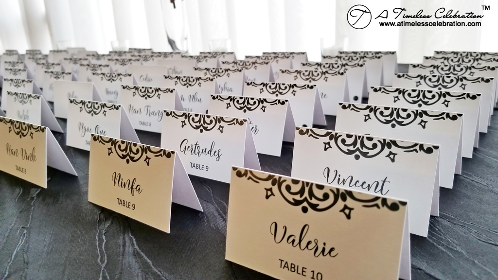 Place Cards Black White Damask Montreal Wedding at Le Madison