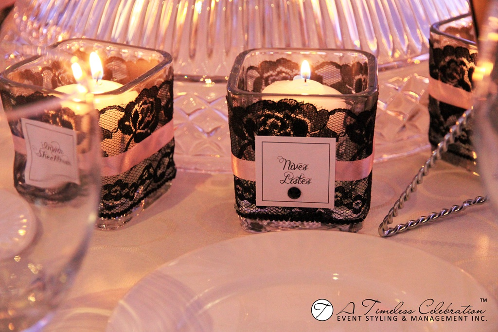 modern chic wedding reception candle placecards le challenger montreal