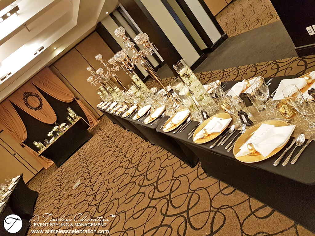 Old Montreal Wedding Florist Flowers Gold Black Decorations Hotel Place d'Armes