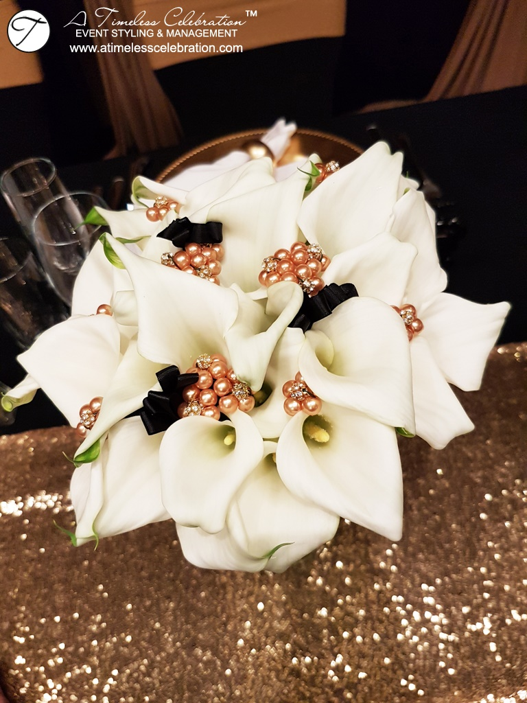 Old Montreal Wedding Florist Flowers Gold Black Decorations Hotel Place d'Armes Calla Lily Bouquet