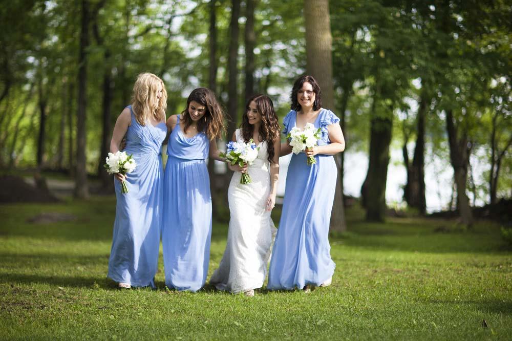 blue white rustic summer woodsy wedding ceremony reception flowers L'Oasis De L'ile montreal bridesmaids