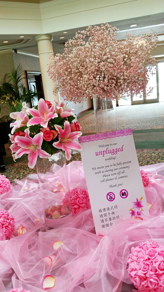 Pink Lilies Flower Centerpiece Chateau Vaudreuil Wedding Reception Montreal Welcome Table