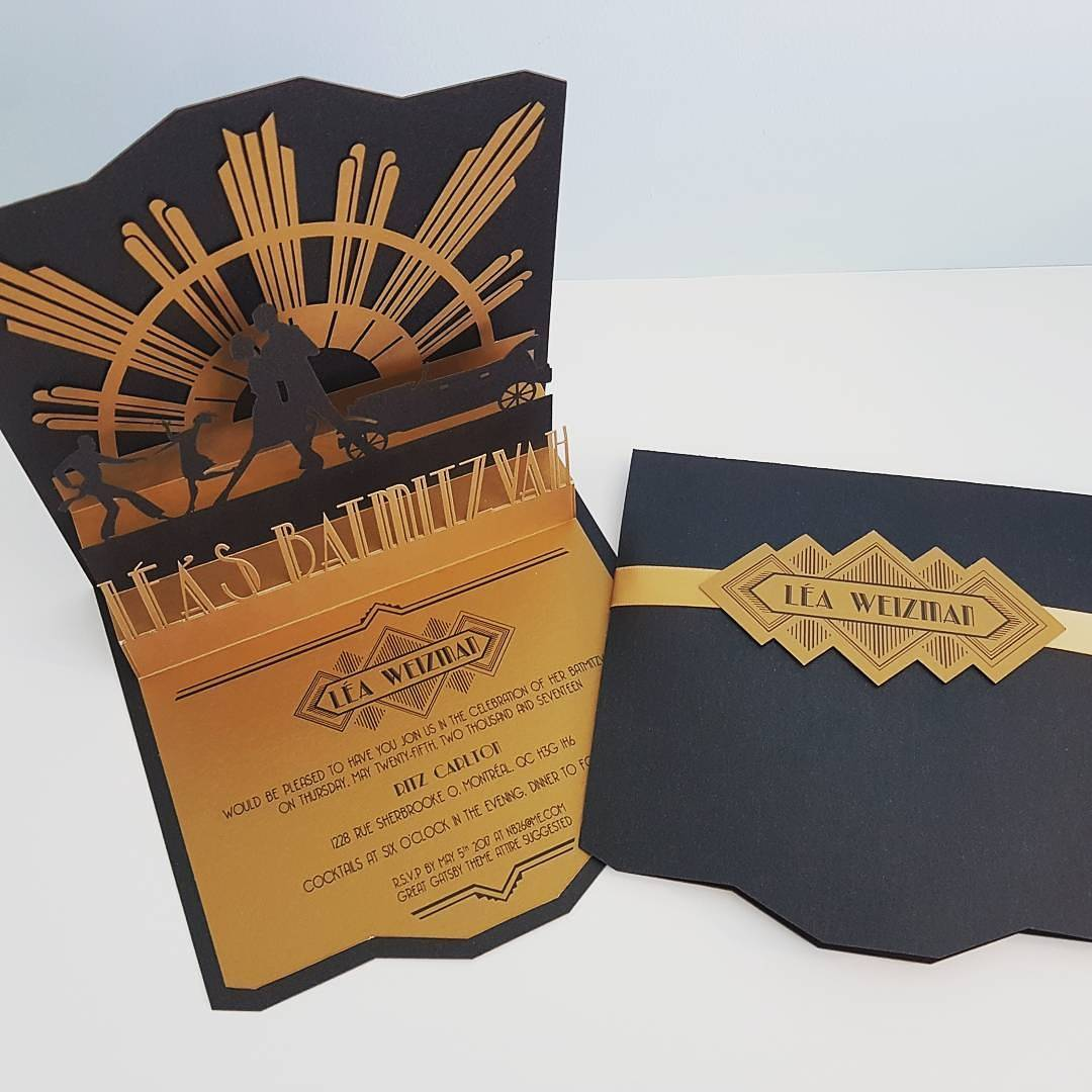Custom Made Bar Mitzvah Laser Cut Vintage Great Gatsby Black Gold Wedding Invitation.jpg