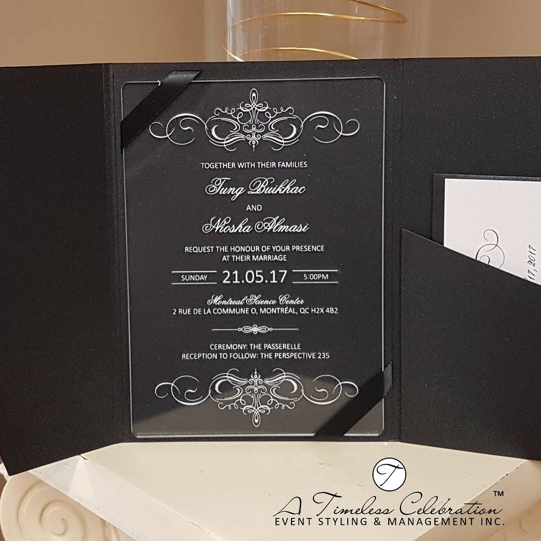 High Quality Acrylic Invitations in Black Envelopments Pocketfold Montreal Wedding.jpg