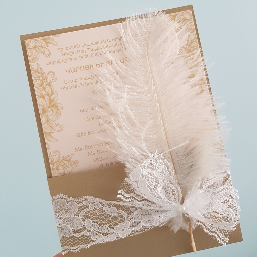 High Quality Faux Pocket Feather Lace Wedding Invitations Montreal.jpg