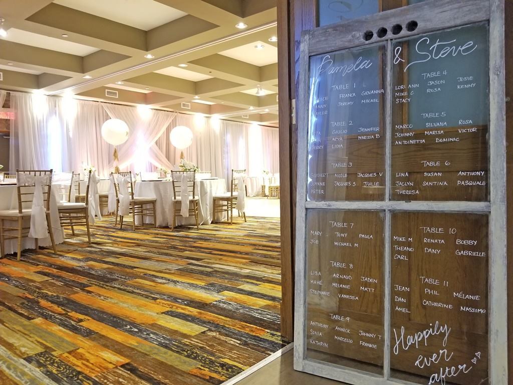Montreal Wedding Reception Rustic Flower Details Rentals Window Seating Chart Hotel Spa Mont Gabriel
