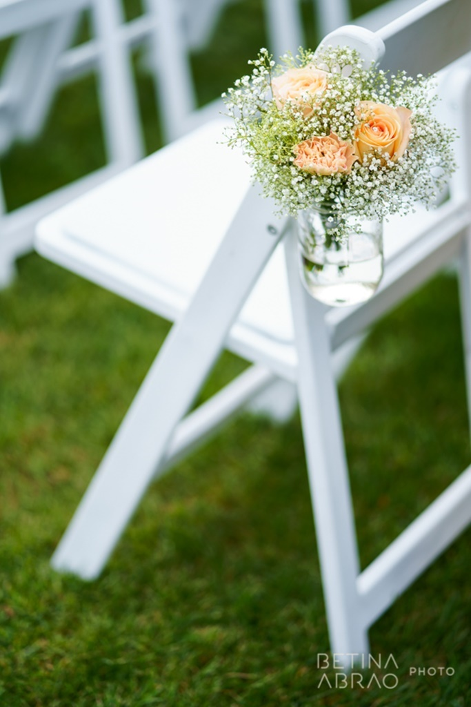 Peach Rustic Wedding at Elm Ridge Golf & Country Club Ile Bizard Montreal Wedding Ceremony Aisle Marker Baby's Breath Arrangement N+J02.jpg