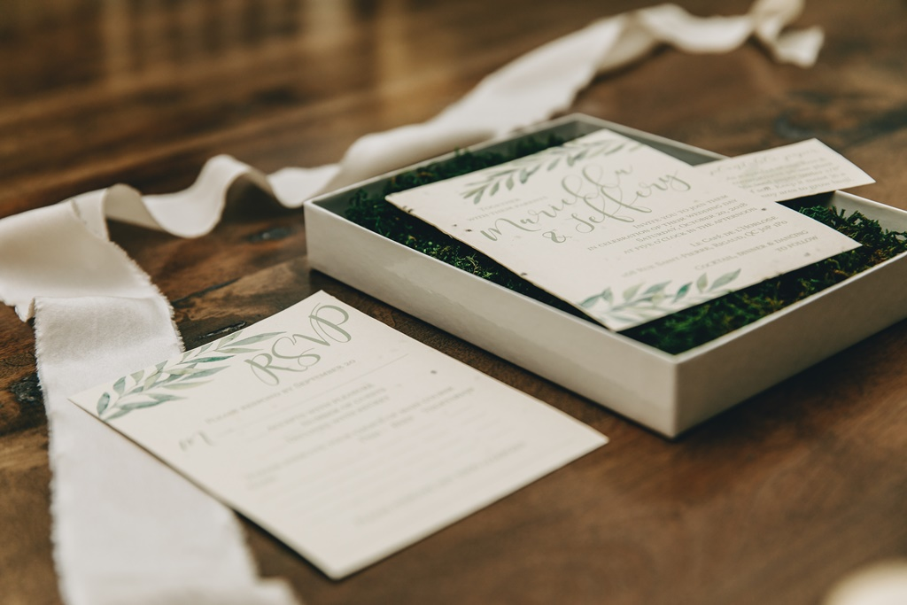 Seeded Paper Organic Wedding Invitation Moss Boxed Set | Montreal A Timeless Celebration Stationer