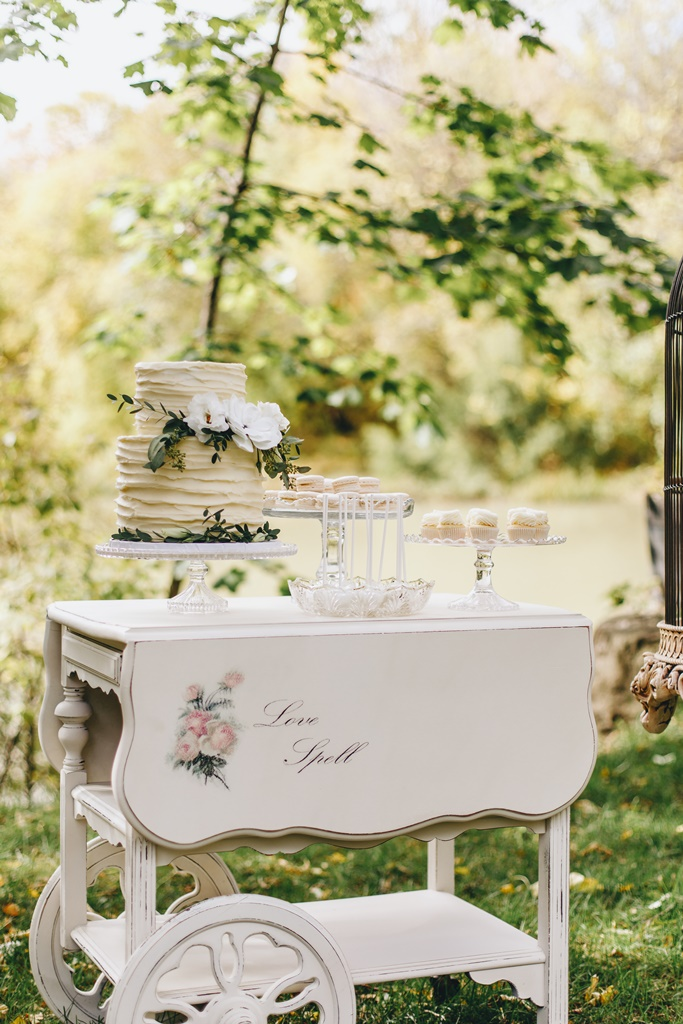Outdoor Wedding Sweet Table Tea Cart  Garden Theme Wedding | Montreal A Timeless Celebration
