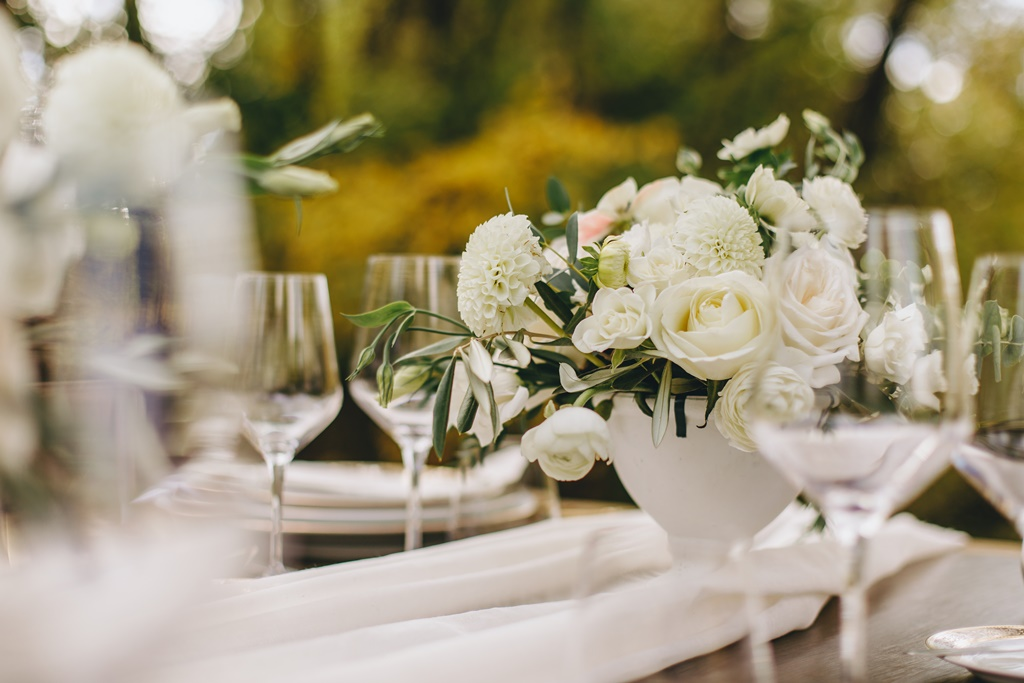 Outdoor Garden Wedding White Green Organic Flower Centerpieces in Compote Vase | Montreal A Timeless Celebration