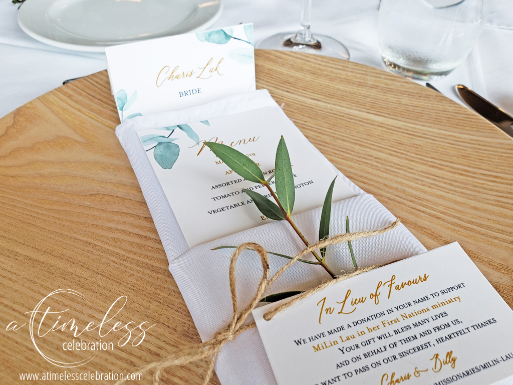 Leaf in Napkin Tied with a Ribbon Montreal Wedding.jpg