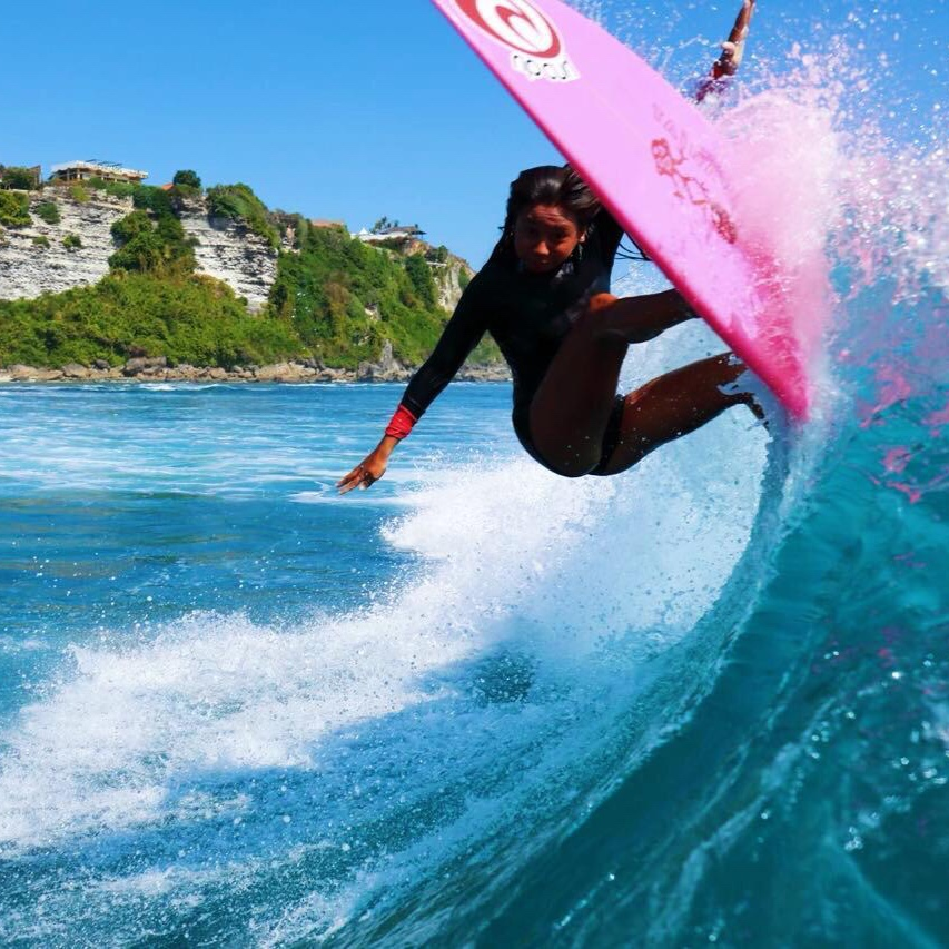 Taina Angel Izquierdo - @taina.surfBorn and raised in Bali, Taina is half Indonesian & Puerto Rican, loves Oreos and the lefts of Uluwatu, her training ground.At 17 years old, she is a young up-and-coming star at the women's world surf scene: champion of the