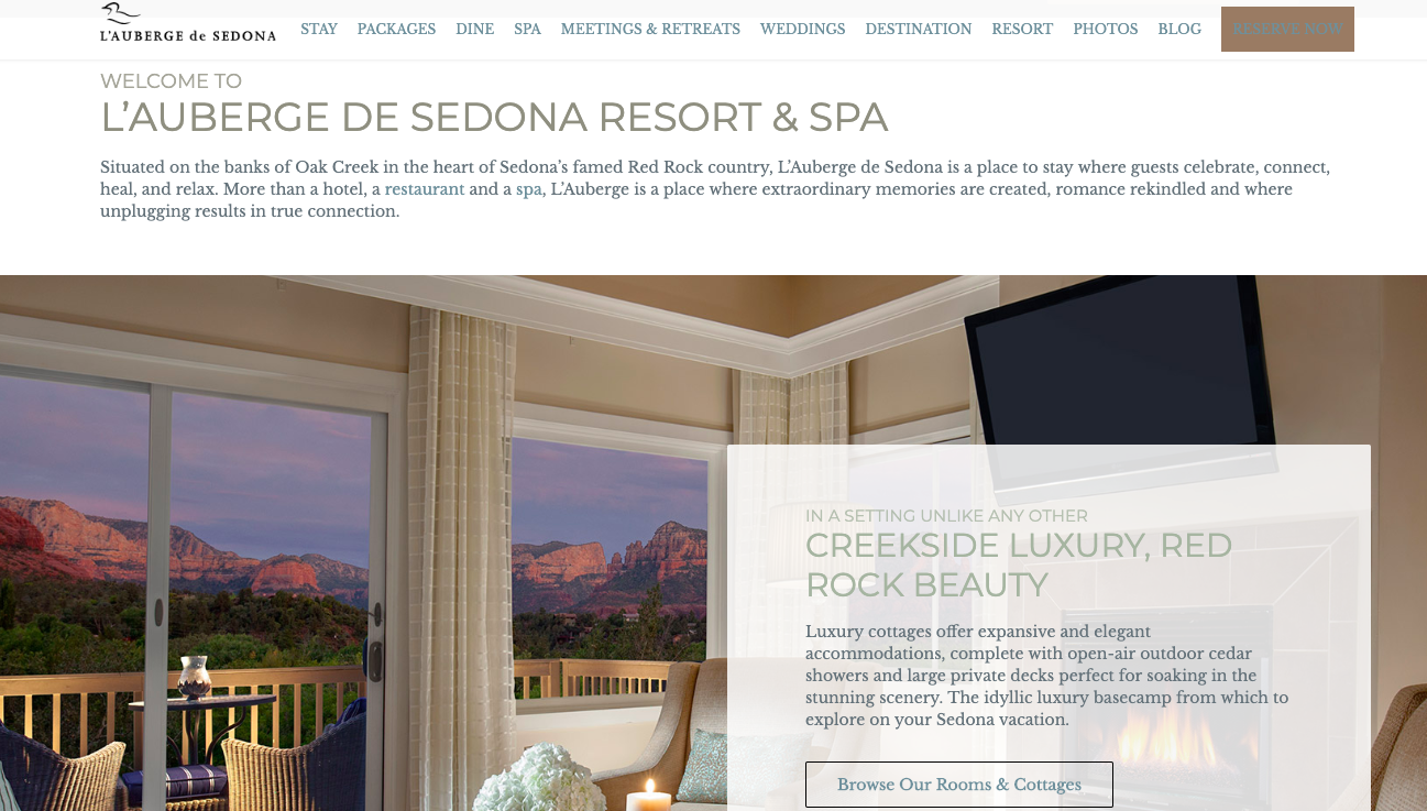 L'Auberge de Sedona - Website and in-room magazine copywriting