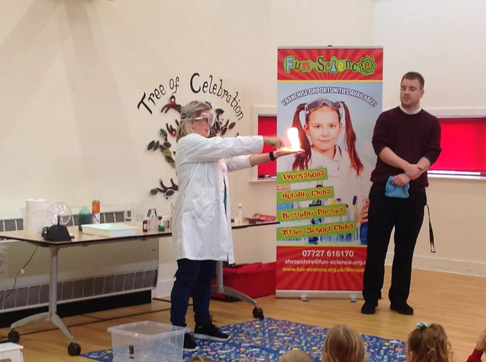"""Super Sonic Sue - Sue was working for Telford college before she joined us but decided to make the change to have a more flexible job and be able to spend more time with her 8 year old daughter. Sue started Fun Science Shropshire in August 2018 and ran her first party the week after her launch event and her first holiday club in October 2018. Four months later, Sue runs clubs in 3 schools as well as parties, holiday clubs and workshops in Telford, Shrewsbury and surrounding areas. Sue says her favourite thing about running her branch is """"the flexibility that it gives, and the buzz I get from every party, assembly and club that I run. It is a rewarding and refreshing career change"""