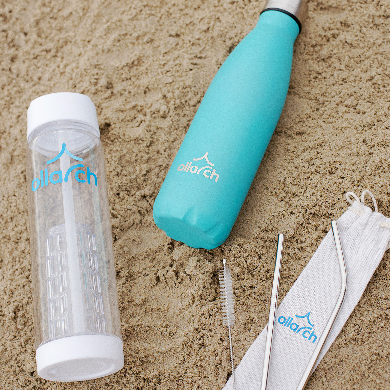 Ollarch reusable drinking product range on Sunny Sands Beach Folkestone Kent