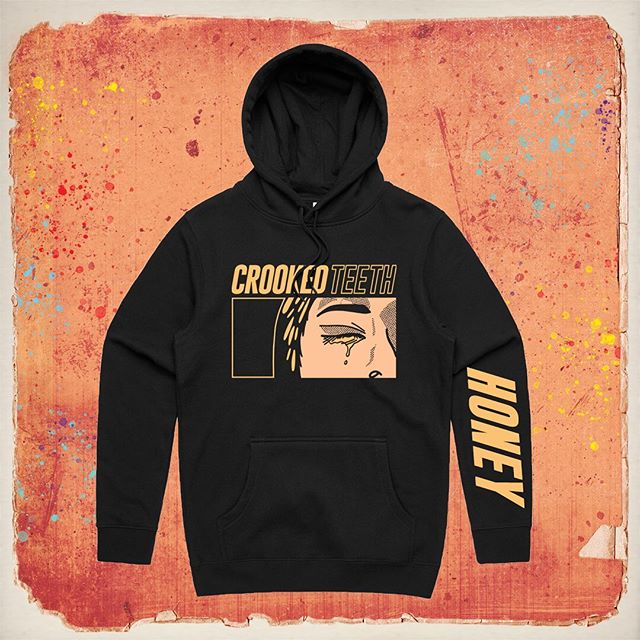 Leftover tour merch is now available on our online store l. Hoodies for 25, shirts for 12 and longsleeves for 15. FIRST TEN ORDERS GET AN ENAMEL PIN. Crookedteethband.bigcartel.com