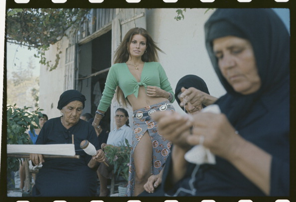Raquel Welch on location in The Beloved in Cyprus. (Photo by Terry O'Neill.jpg