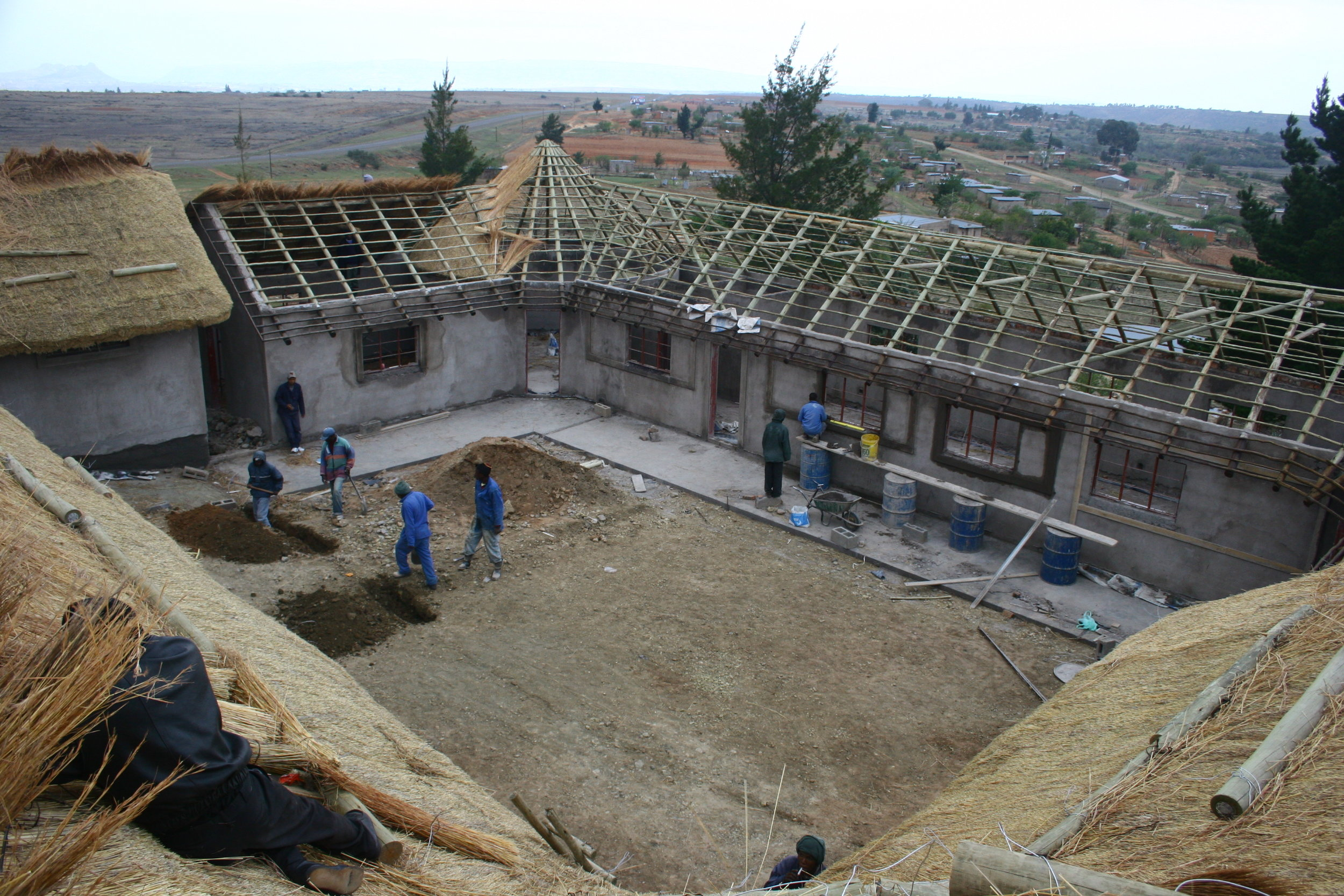 View of building and courtyard in construction