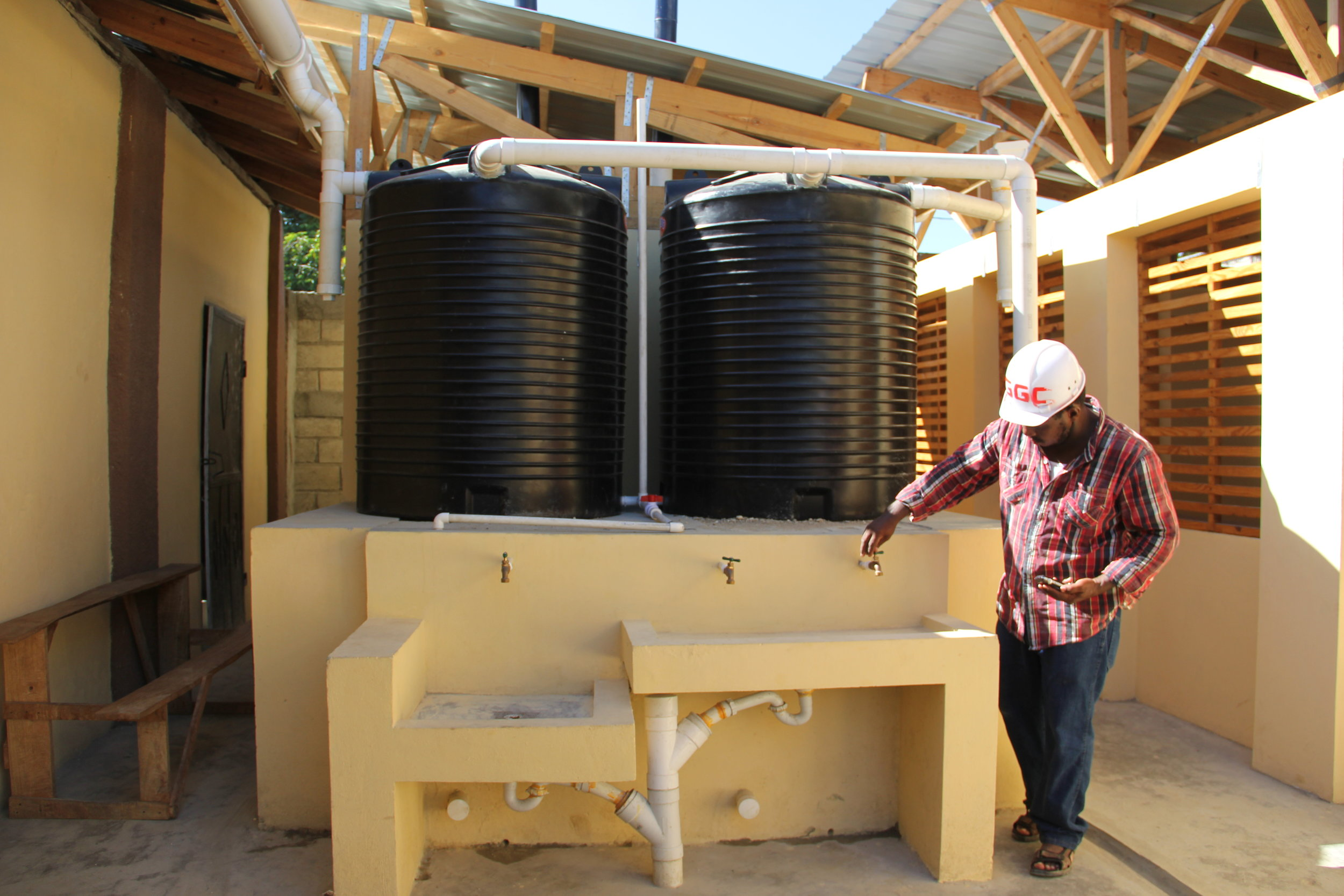 Rain water harvesting tanks and sinks