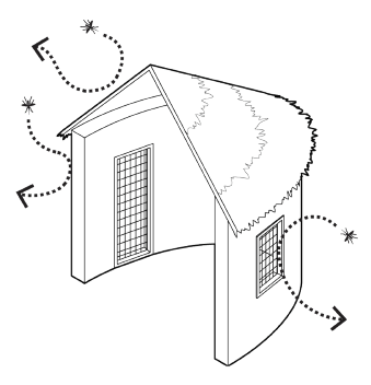 Screens on doors, windows and eaves as well as patching gaps and cracks in walls and roofs offer protection from mosquitoes