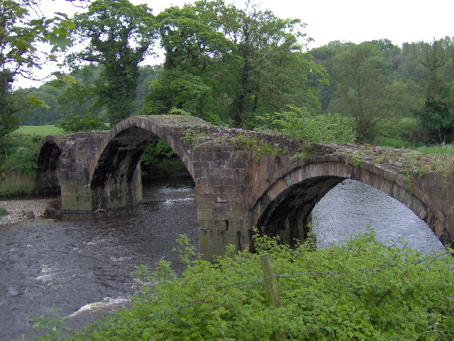 Cromwell's Bridge. The Ribble Valley crosses the River Hodder.
