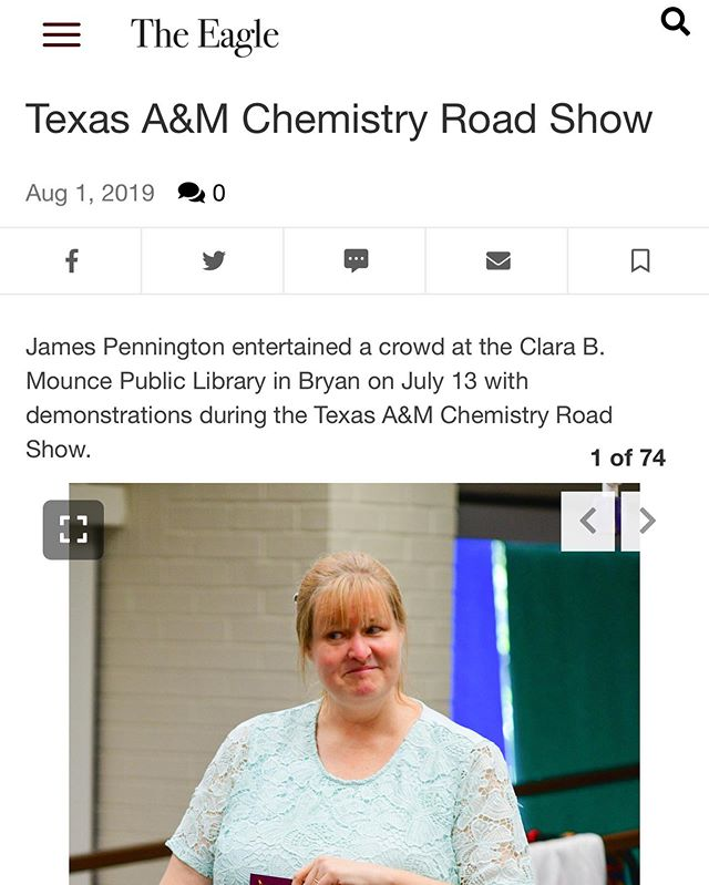 Look who made it into the gallery for the Texas A&M Chemistry Road Show, our author, Greta! For those that made it to the show, we hope you enjoyed it! Check out the rest of the photos at the link in the bio.