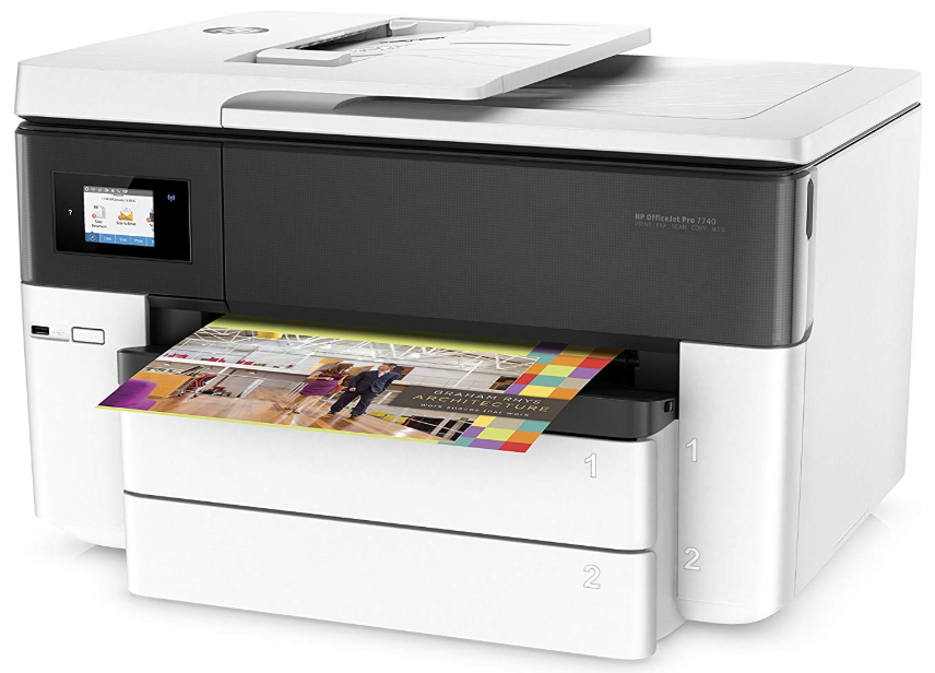 HP Officejet Pro 7740 e-All-in-One Printer. Features A4 and A3 duplex printing, scanning and copying with easy-to-use touch screen control panel.
