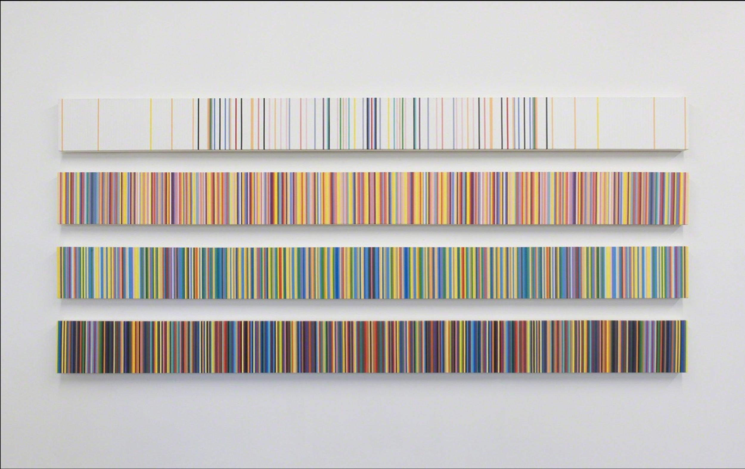 "The Palindromic Four Seasons , 2017. Acrylic on canvas, 9 ¼"" x 114""."