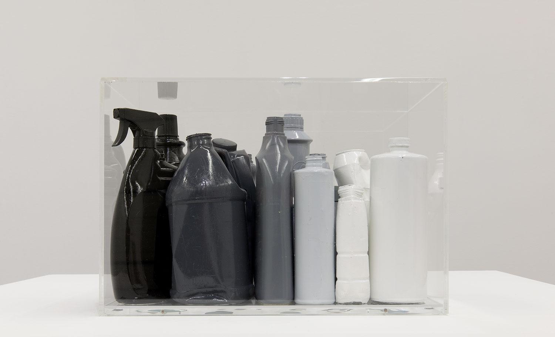 """Tsunami Study 2 , 2018. Found items, acrylic paint, and Plexiglass, 12 ¾"""" x 18 ½"""" x 11 ½""""."""