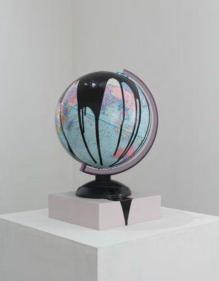 """Pessimism 8,  2014. Acrylic on globe, 10"""" x 10"""" x 19""""."""