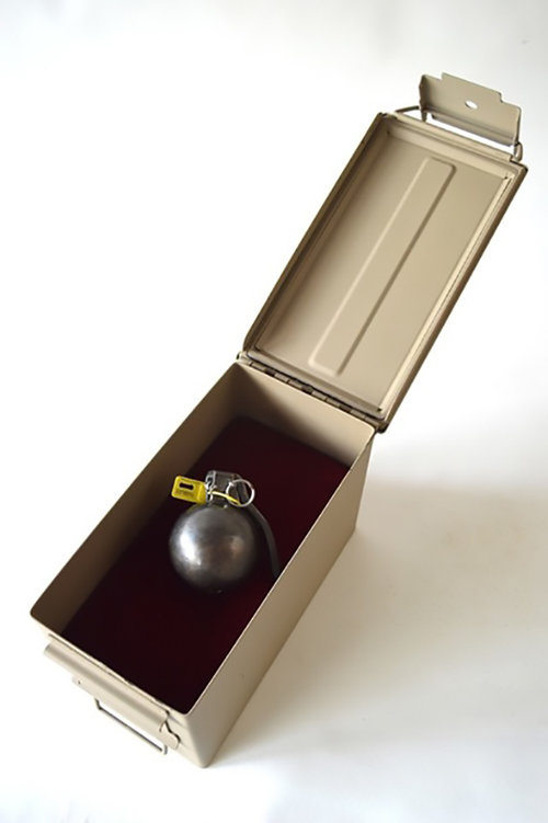 "A Series - America the Beautiful,  Bronze, music-box mechanism, hardware, potential sound, 3 x 3 x 4"""