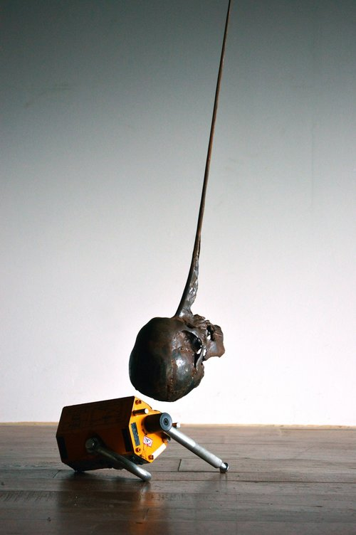 """Conscience , 2018, Steel, magnet, cable, variable dimensions, 12"""" x 18"""" x 240"""""""